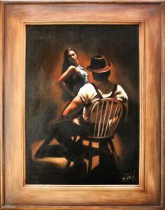 Private-Dance-Sexy-Erotik-Echte-Handarbeit-Rahmen-Ol-Gemaelde-Bild-Bilder-G14989
