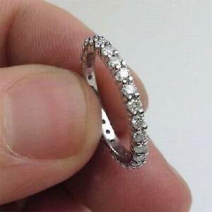14k-White-Gold-Ring-Engagement-Wedding-Ring-Eternity-Band-1Ct-Round-VVS1-Diamond