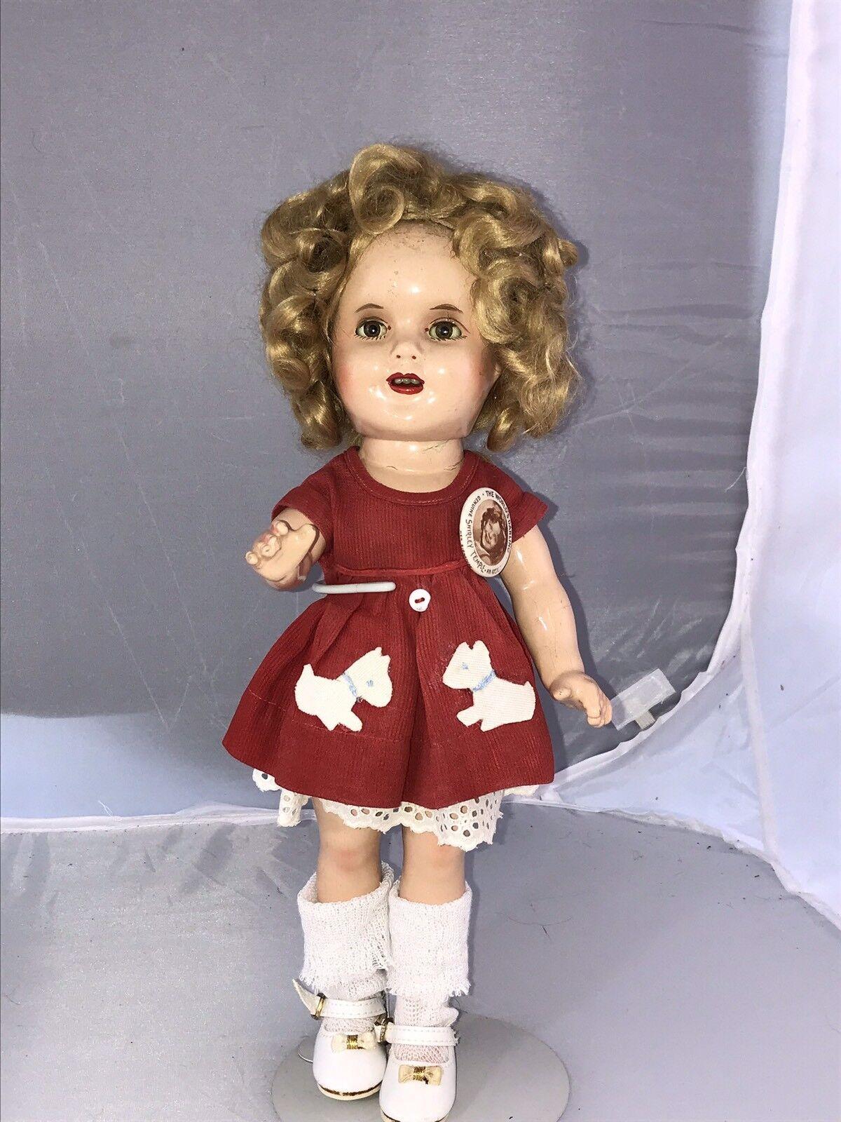 "13"" Antique Composition Ideal Shirley Temple Makeup Doll Scottie Dress"