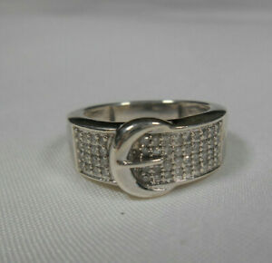 Sparkling-Diamond-Pave-039-Buckle-Ring-Sterling-Silver-Sz-6