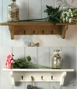 Shabby Chic Wall Shelf White Wooden Vintage Rustic Key
