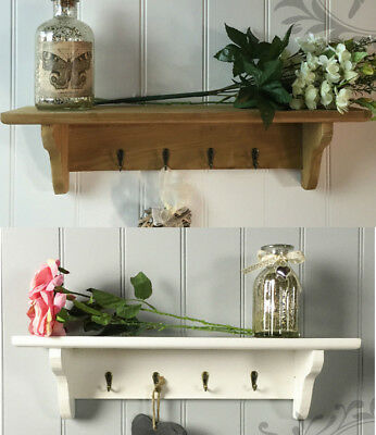 Shabby Chic Wall Shelf White Wooden Vintage Rustic Key Hook Kitchen Storage Unit Ebay
