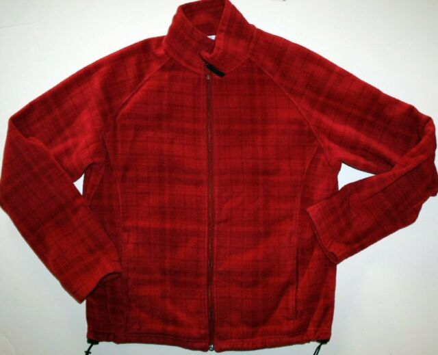 COLUMBIA BENTON SPRINGS Fleece Jacket Red Plaid Womens size XL Extra Large VGUC