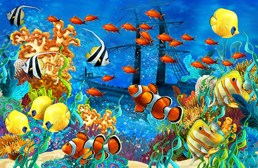 Sous l'eau de mer Scape Aqua Wall Art Art Art Mural Auto-Adhésif Vinyle Papier Peint | Design Attrayant  | Ont Longtemps Joui D'une Grande Renommée  | Premiers Clients  | Doux Et Léger  386cea