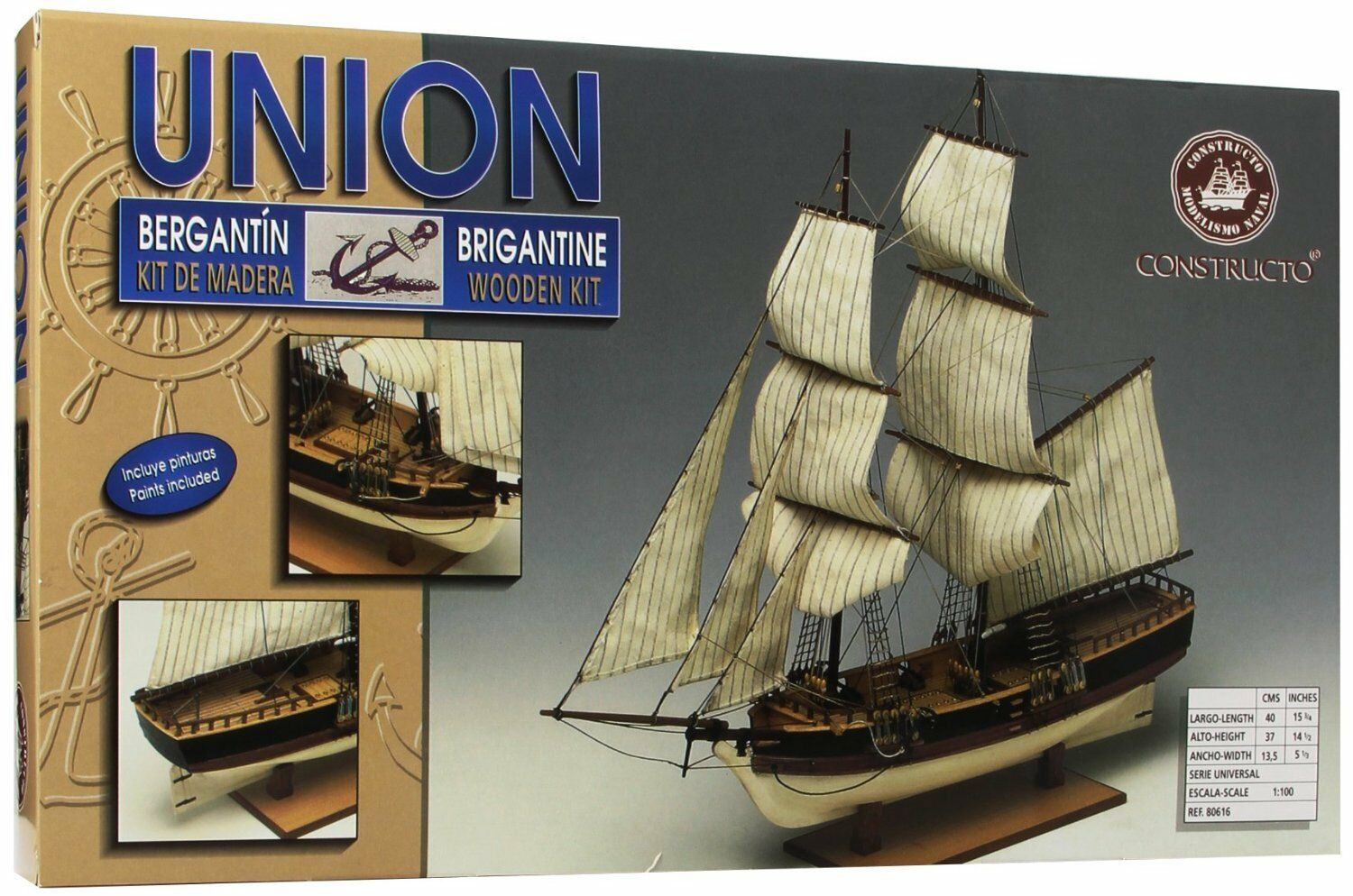 Wooden Ship Boat Kit Union Brigantine Kit Constructo 1 100th scale 80616