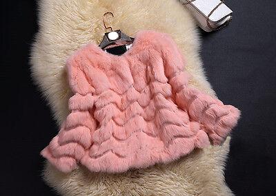 Luxury Lady Women's Wave Farm Real Rabbit Fur Coat Jacket Outwear Black Warm