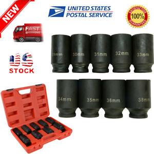 "9pcs 29-38mm Deep Impact Socket Set 1//2/"" Drive Metric Axle Hub Nut Socket"