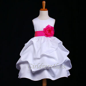 US-Seller-White-Baby-Infant-Wedding-Pageant-Party-Flower-Girl-Pick-Up-Dress-Gown