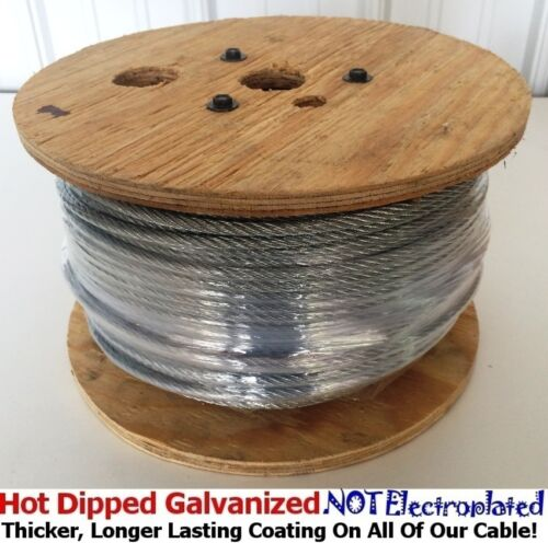"""Aircraft Steel Cable Wire Rope 250/' 3//8/"""" 7x19 Hot Dipped Galvanized Steel Cable"""