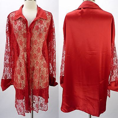 Vintage Victorias Secret Satin & Sexy Sheer Lace Front Nightgown Shirt M/L Loose