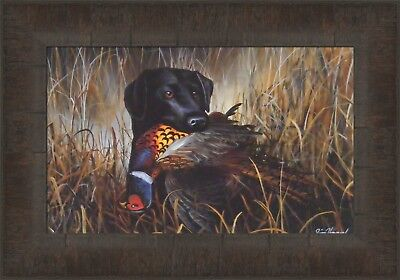 BIRD SEASON by Jim Hansel 11x15 Black Lab Labrador Pheasant FRAMED PICTURE HCD