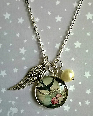 Vintage Style Silver Swallow Bird & Pink Rose Pearl Wing Charm Pendant Necklace