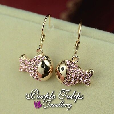 18K Rose Gold Plated Cute Pink Fish Dangle Earrings Made with Swarovski Crystal