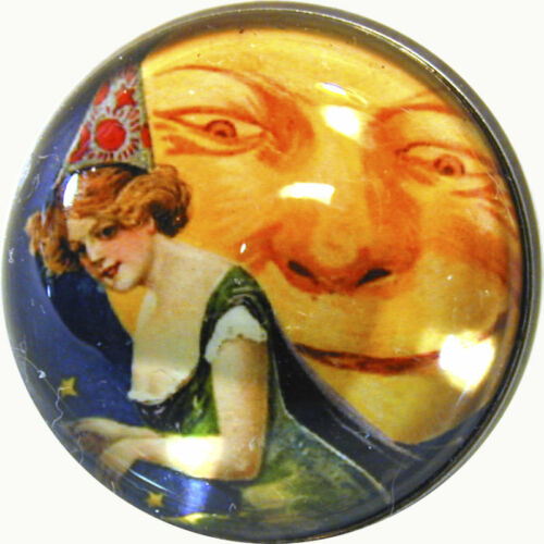 """1 /"""" Halloween Crystal Dome Button Pretty Witch /& Moon  FREE US SHIPPING"""