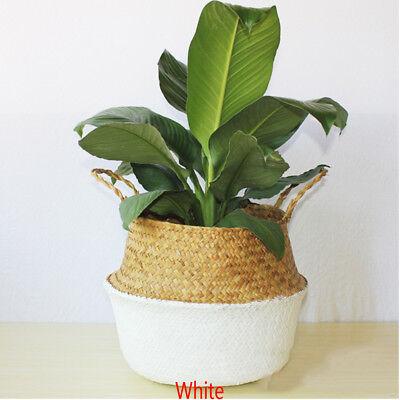 Hot Seagrass Flower Belly Basket Storage Plant Pot Laundry Organizer Bag Decor