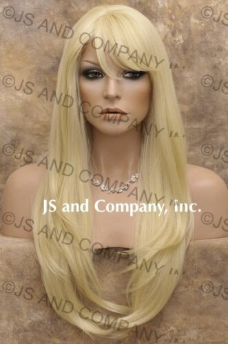 Human Hair Blend Wig Long Straight Pale Blonde Heat safe WTO 613