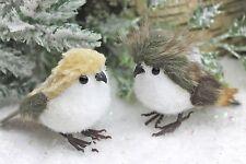 GISELA GRAHAM CHRISTMAS WHITE BROWN PLUSH FLOCK BIRD DECORATION X 2