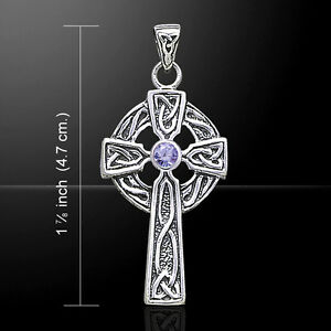 Celtic Cross .925 Sterling Silver Pendant Choice of Gem by Peter Stone