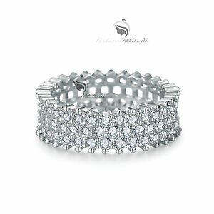 18K-White-Gold-Plated-women-039-s-wedding-Ring-Simulated-Diamond
