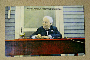 The-Late-Thomas-A-Edison-at-Telegraph-Key-Ft-Meyers-FL-Postcard