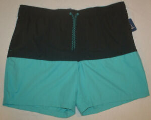 Men-039-s-George-Black-amp-Blue-Stretch-Drawstring-Waist-Swim-Shorts-Size-3XL