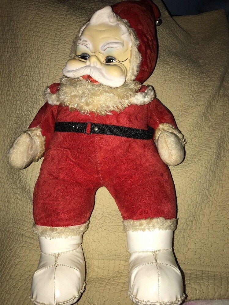 "Vintage Rushton Santa Clause 22"" faced Rubber faced 22"" Doll Plush Christmas Decor ca152e"