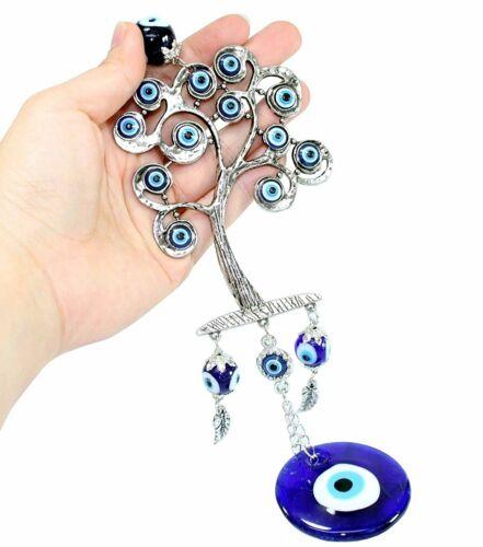 Set of 4 Blue Evil Eye Keychain Key Ring Wall Hanging Amulets Hamsa Hand