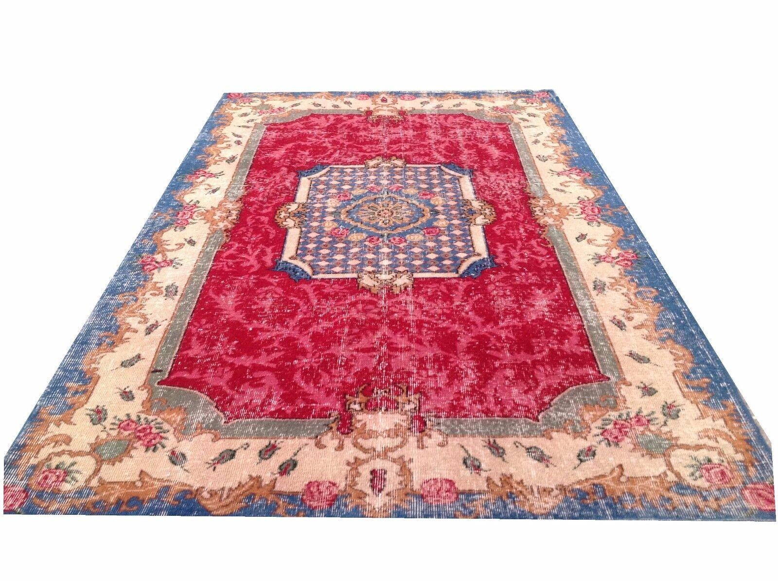 7'11  x 5'1    aqua aqua aqua Blau  rot cream oushak vintage rug carpet tapis teppich 8973ec
