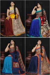 Wedding Kalamkari Print Saree Sari Pallu Blouse Linen South Indian Ethnic Wear