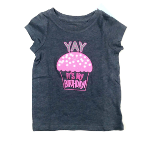 Girls/' 2T Gray /& Pink YAY It/'s My Birthday Cupcake Cat /& Jack T-Shirt NWT