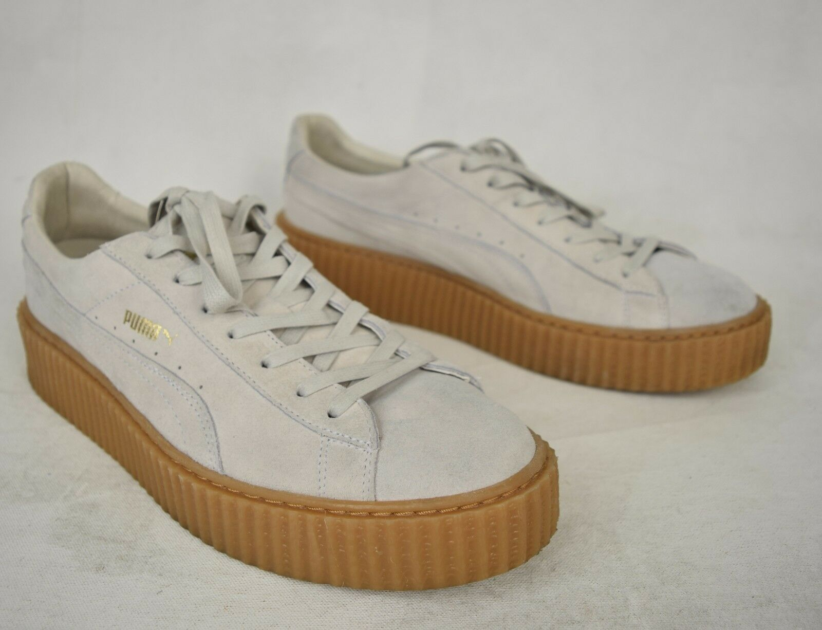 Puma Rihanna Fenty shoes Suede Creepers White Oatmeal Grey 11 Mens 362178 03