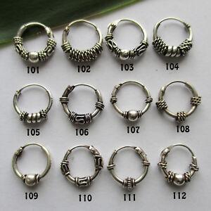 Bali-Creolen-10-mm-Silber-925-Einzeln-oder-Paar-Keltische-Ohrringe-Gothic
