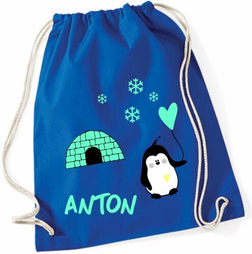 Rucksack zum Zuziehen mit NamenMotiv Pinguin, Herz & Iglu für Kinder Mädchen