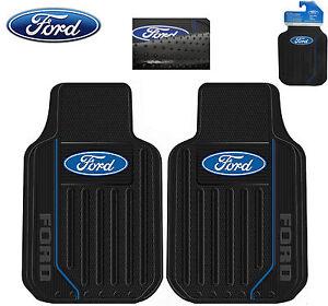 ford elite front floor mats w black blue ford logo rubber. Black Bedroom Furniture Sets. Home Design Ideas