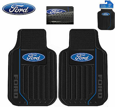 Ford Elite Front Floor Mats W/ Black Blue Ford Logo Rubber Same Day Shipping