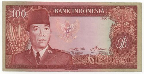 INDONESIA 100 RUPIAH 1960 PICK 86 REPLACEMENT LOOK SCANS