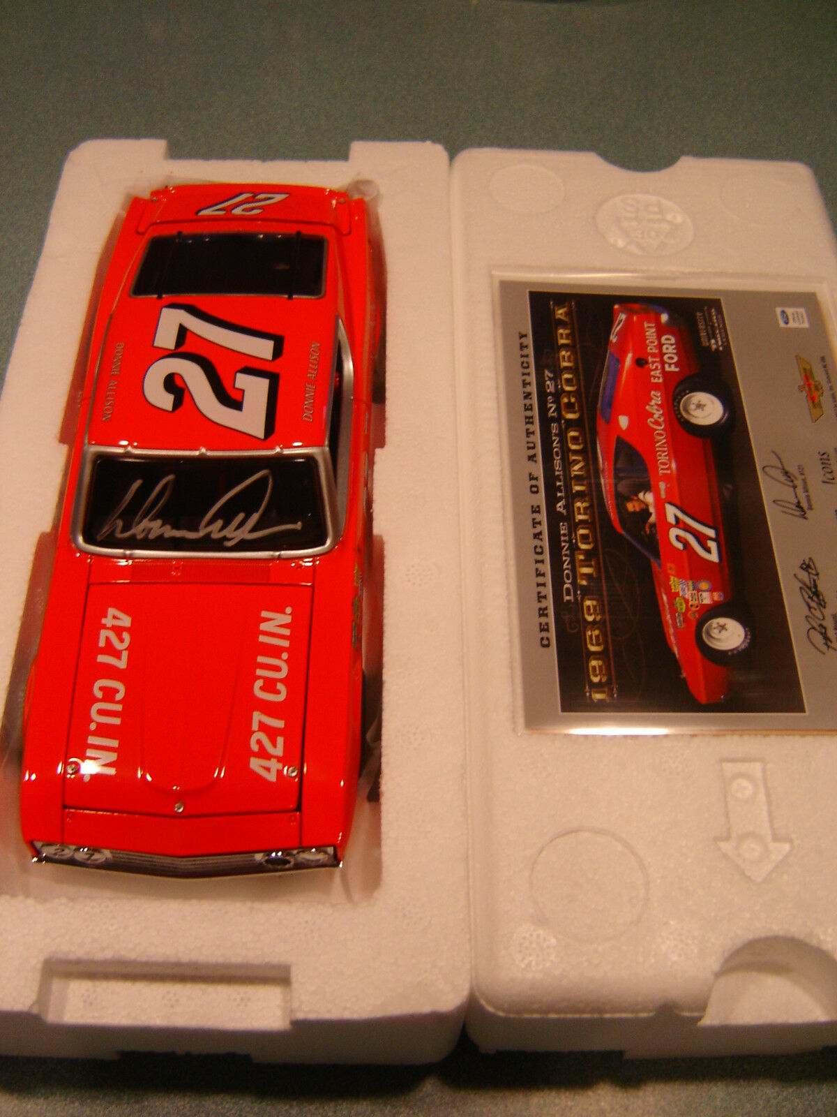 27 Donnie Allison Signiert 1969 Ford Torino Cobra Nascar Legends 0.1cm Lager
