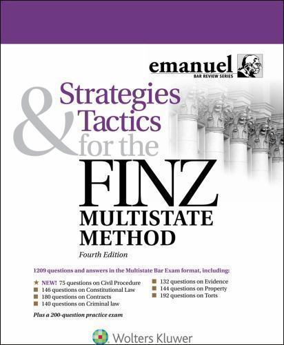 Emanuel Bar Review: Strategies and Tactics for the FINZ Multistate Method  by Steven Finz and Alex Ruskell (2016, Paperback, New Edition) for sale