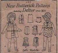 Vintage 12 Antique Doll Clothes Pattern 435