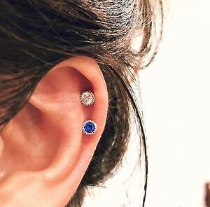 Acier Inoxydable Cartilage Oreille Stud Tragus Helix CZ Zircon Piercing Boucle d/'oreille