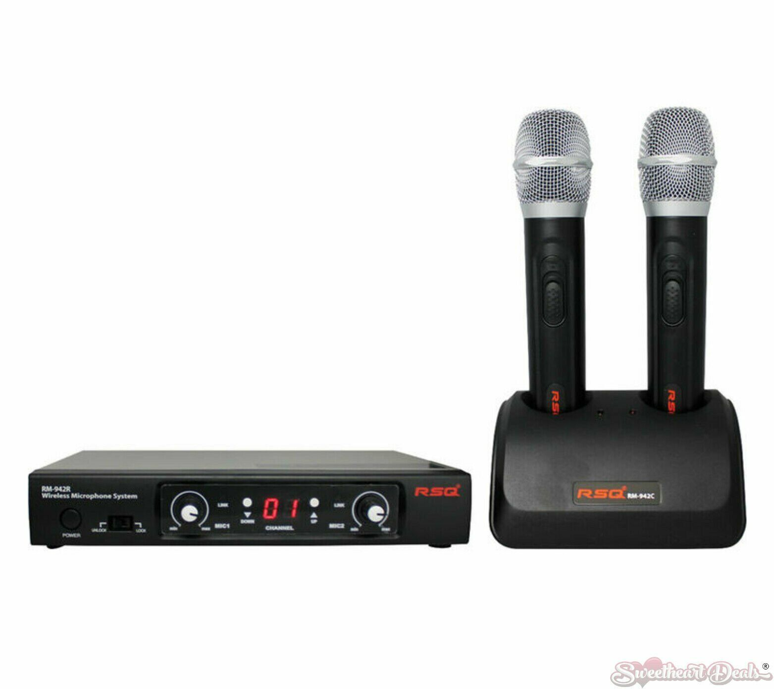 RSQ RM-942 60 Channel Dual Wireless Microphone System mit Ladegerät