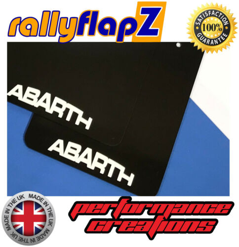 Qty4 Mudflaps /& Fixings to fit Fiat 500 Abarth Black 4mm PVC /'Abarth/' Logo White