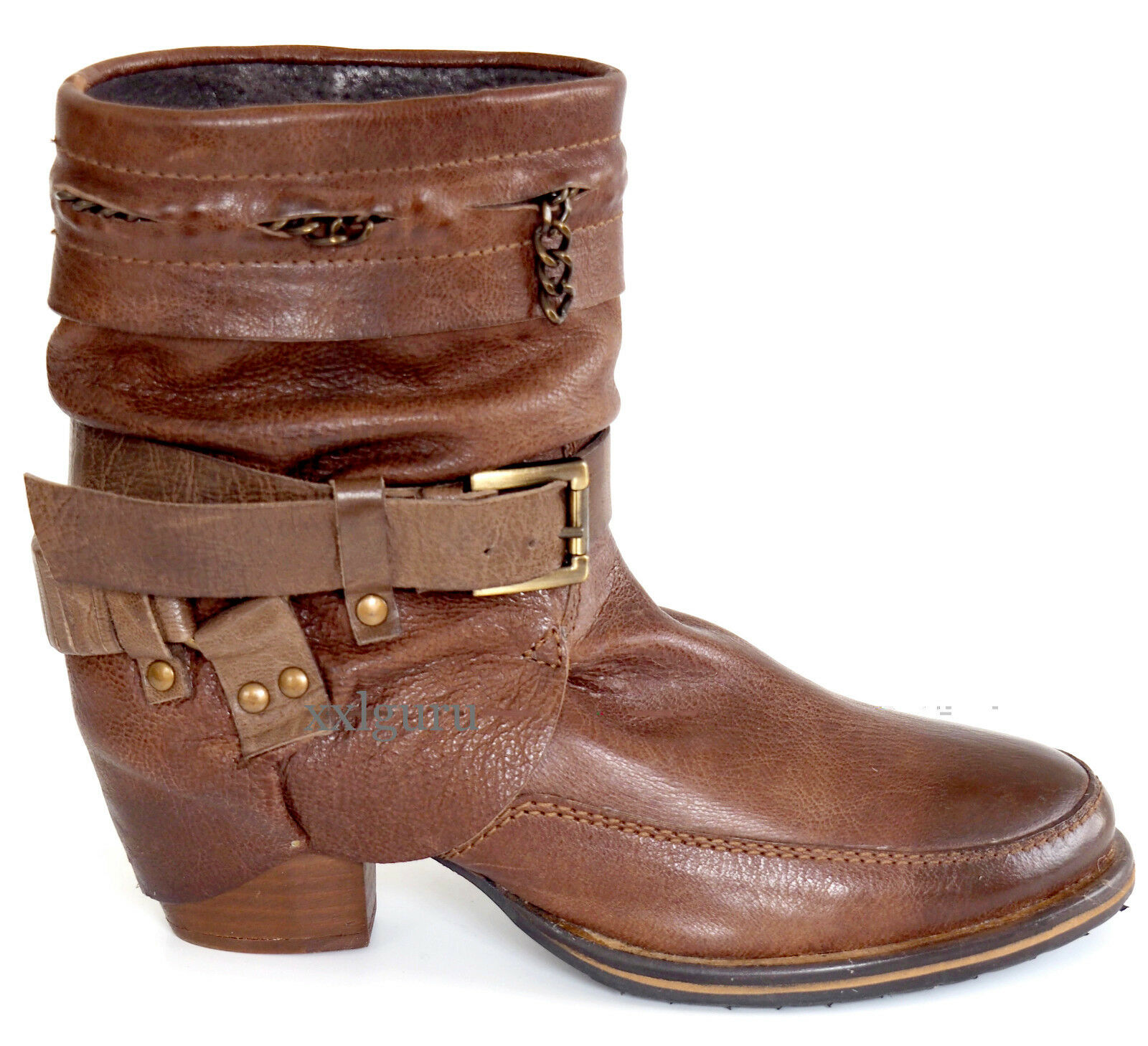 XYXYX Stiefelette 41 Nappa LEDER Cognac Gebrushed Braun Used Boots Schnale NEU