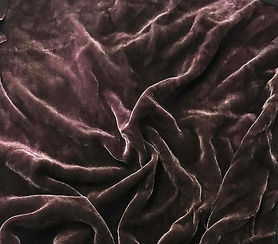 "Hand Dyed Silk VELVET Fabric VICTORIAN MAUVE 9""x22"" remnant"