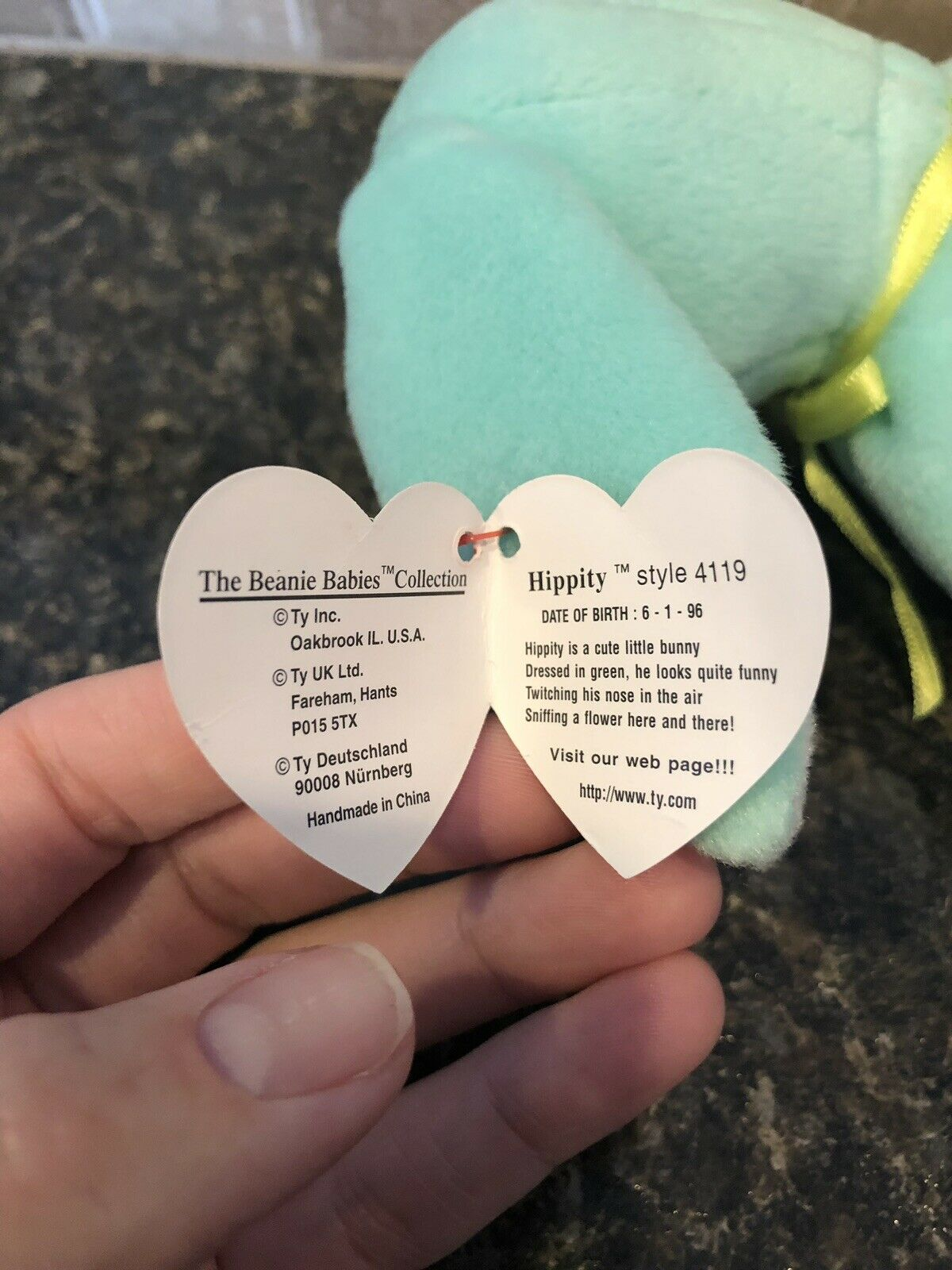 Ty Beanie Babies Hippity the the the Bunny Rare With Errors. Great For Easter   0f3e93
