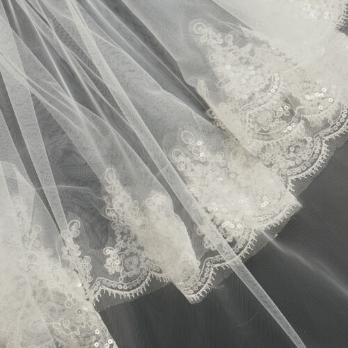 White//Ivory 2 Layer Lace Elbow Length Sequin Wedding Bridal Veil With Comb UK