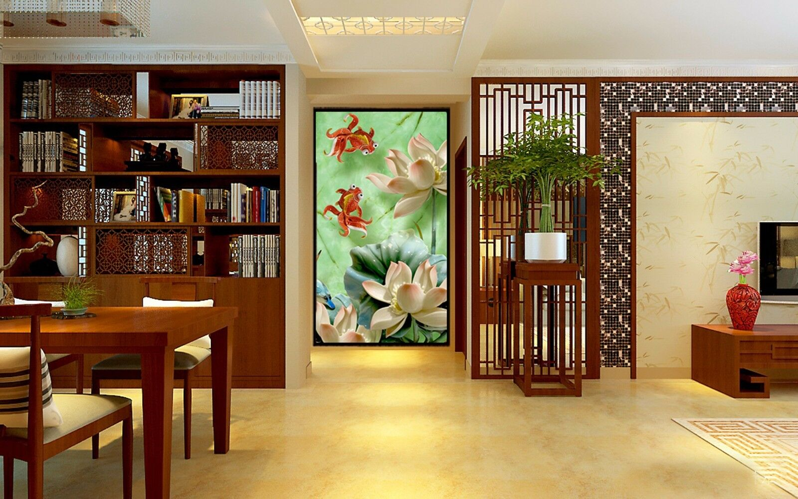 3D Lotus Goldfish 363 Wall Paper Wall Print Decal Wall Indoor Murals Wall US