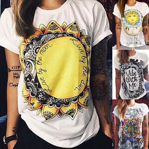 Women-Boho-Fashion-Short-Sleeve-T-Shirt-Summer-Casual-Blouse-Cartoon-Cotton-Tops