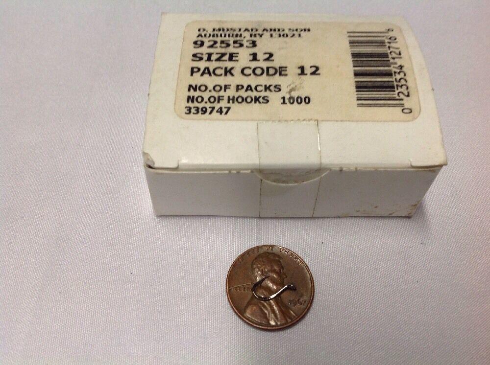 Mustad 92553 tamaño 12 hueco Punto Pico Gancho 1000 Conde de níquel