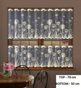 CAFE NET CURTAIN-COFFE-ON BLACK WARP-TWO DROPS-SOLD BY METERS